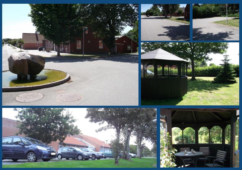 Pladsen omkring kroen byder på gode parkeringsmuligheder til både store og små køretøjer.